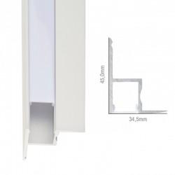Perfíl Aluminio para Tira LED Instalación Techos Difusor Opal x 1M