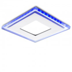 Foco Downlight  LED Cuadrado con Cristal Duo (Blanco/Azul) 130X130Mm 10W 800Lm 30.000H