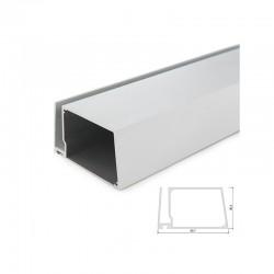 Perfíl Aluminio para Tira LED Estanterías Cristal Espesor 8Mm - Alojamiento Transformador x 2M