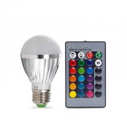 Bombilla de LEDs RGB 3W E27 Esférica Mando a Distancia