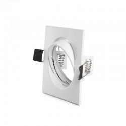 Aro Foco Downlight  Basculante Cuadrado Aluminio Blanco 83/83Mm