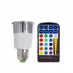 Bombilla de LEDs RGB 5W E27 Mando a Distancia