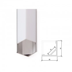 Perfíl Aluminio para Tira LED Difusor Opal x 2M
